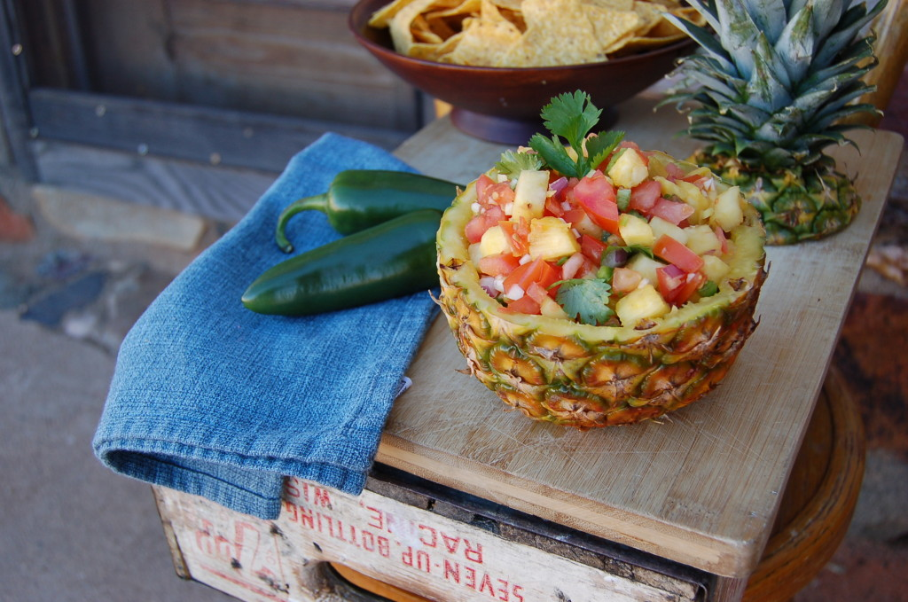 pineapple salsa in a pineapple bowl