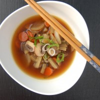 Miso Soup with Burdock, Daikon and Mushrooms