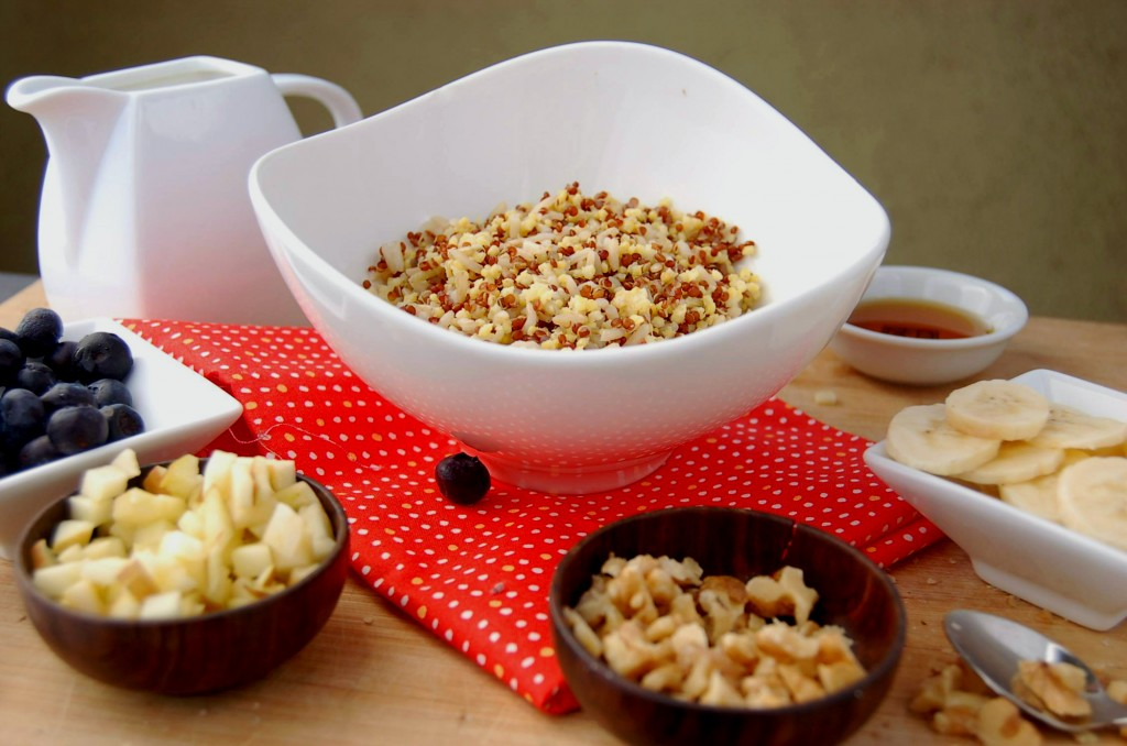 Cold Grain Cereal with Blueberries, Banana, Apple and Walnuts _Side Angle