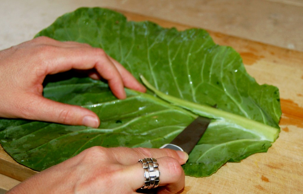 Trim the spine so it's flush with the rest of the leaf.